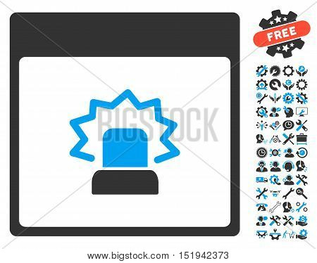 Alert Calendar Page icon with bonus service pictograph collection. Vector illustration style is flat iconic symbols, blue and gray, white background.