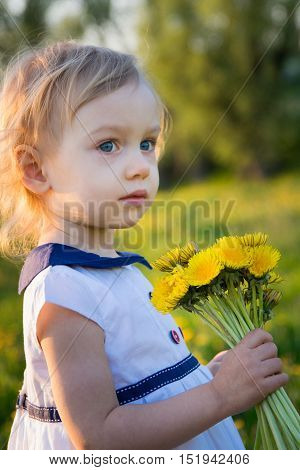 Two-year old girl with bouquet of dandelions outdoors at sunny spring day.