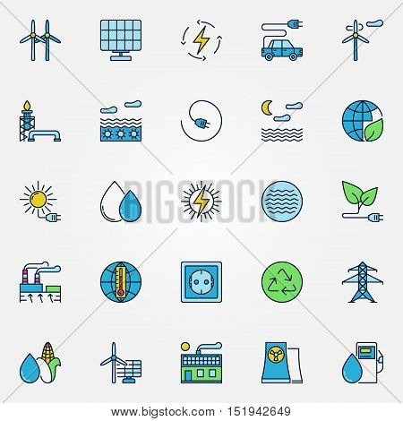 Colorful alternative energy symbols. Vector set of wind, water, bio and solar energy signs. Renewable energy creative symbols