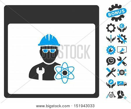 Atomic Engineer Calendar Page icon with bonus setup tools graphic icons. Vector illustration style is flat iconic symbols, blue and gray, white background.