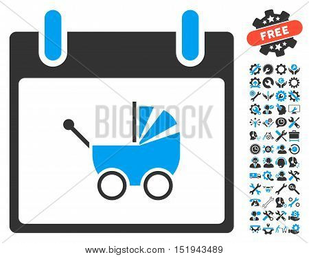 Baby Carriage Calendar Day icon with bonus configuration icon set. Vector illustration style is flat iconic symbols, blue and gray, white background.