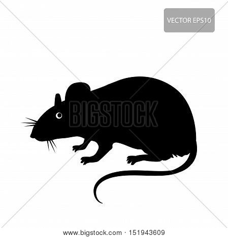 Mouse Rat Vector. Rat Silhouette On The White Background. Rat Vector Disease. Harmful Rodent Parasite.