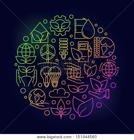 Ecological colorful concept. Round thin line ecology vector symbol on dark background. Save the planet bright illustration