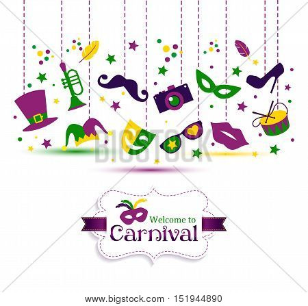 Bright Vector Carnival With Icon In Flat Style And Sign Welcome To Carnival.