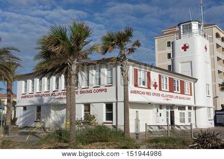 JACKSONVILLE BEACH, FL-OCTOBER 13, 2016: The Jacksonville Beach Lifeguard Station. The Jacksonville Beach Lifeguards began service in the summer of 1912 with a dozen volunteers.