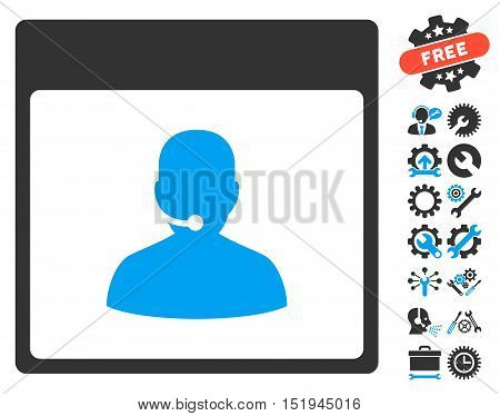 Call Center Manager Calendar Page pictograph with bonus tools clip art. Vector illustration style is flat iconic symbols, blue and gray, white background.