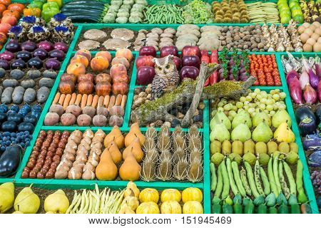 An intricate display of fruit and vegetables.
