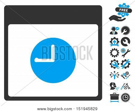 Clock Calendar Page pictograph with bonus settings graphic icons. Vector illustration style is flat iconic symbols, blue and gray, white background.