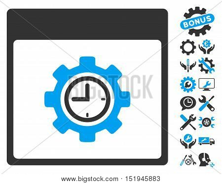 Clock Configuration Gear Calendar Page pictograph with bonus settings icon set. Vector illustration style is flat iconic symbols, blue and gray, white background.