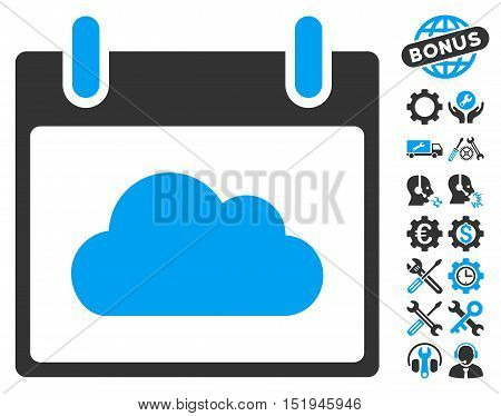Cloud Calendar Day pictograph with bonus setup tools pictograph collection. Vector illustration style is flat iconic symbols, blue and gray, white background.
