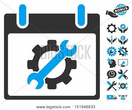 Configuration Tools Calendar Day pictograph with bonus configuration design elements. Vector illustration style is flat iconic symbols, blue and gray, white background.