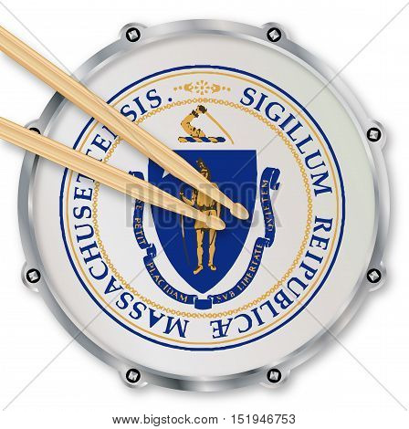 Massachusetts state seal snare drum batter head with tuning screws and with drumsticks over a white background