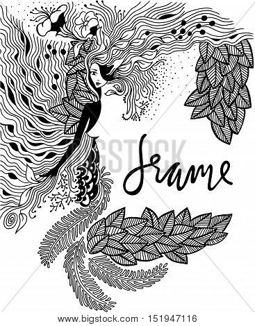 Illustration Zen Tangle portrait of a woman in a flower frame. Doodle forest, garden. Coloring book anti stress for adults. Black and white. illustration