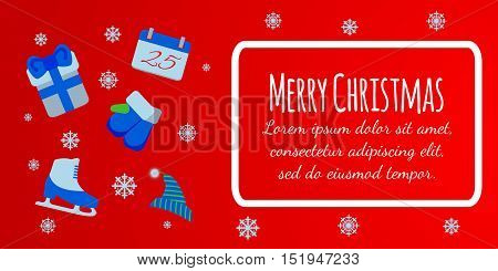 Happy New Year Banner. Merry Christmas Giftcard. Xmas Poster With Skates, Gift, Mittens. Vector Illu