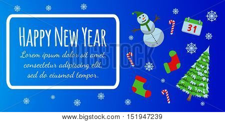 Happy New Year Banner And Giftcard. Xmas Poster With Snowman, Pine. Merry Christmas Vector Illustrat