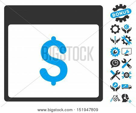 Dollar Currency Calendar Page pictograph with bonus service clip art. Vector illustration style is flat iconic symbols, blue and gray, white background.