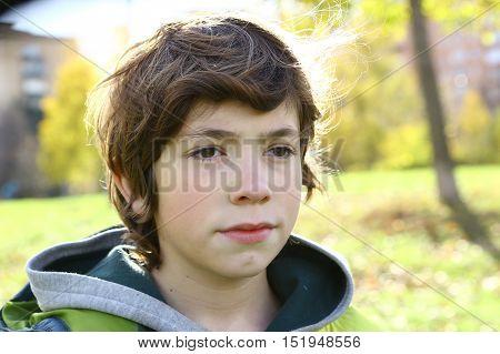 preteen handsome boy outdoor autumn portrait in the park close up