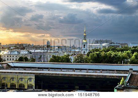 1 july 2016. Saint-Petersburg. View from the top of the bell tower of St. Nicholas Cathedral at sunset in St. Petersburg.Russia