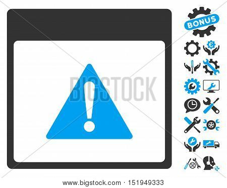 Error Calendar Page icon with bonus options pictograms. Vector illustration style is flat iconic symbols, blue and gray, white background.