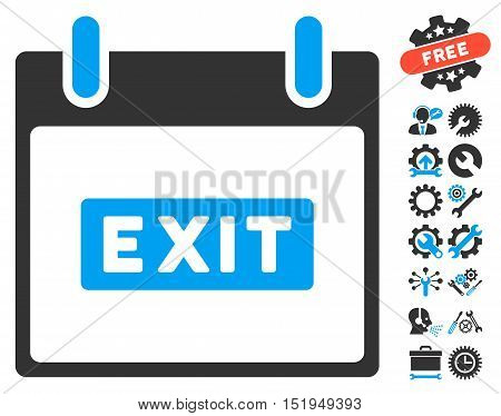 Exit Caption Calendar Day icon with bonus tools clip art. Vector illustration style is flat iconic symbols, blue and gray, white background.