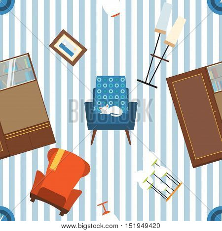 Seamless vector pattern of furniture and elements of 70's.