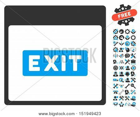 Exit Caption Calendar Page pictograph with bonus settings pictograms. Vector illustration style is flat iconic symbols, blue and gray, white background.