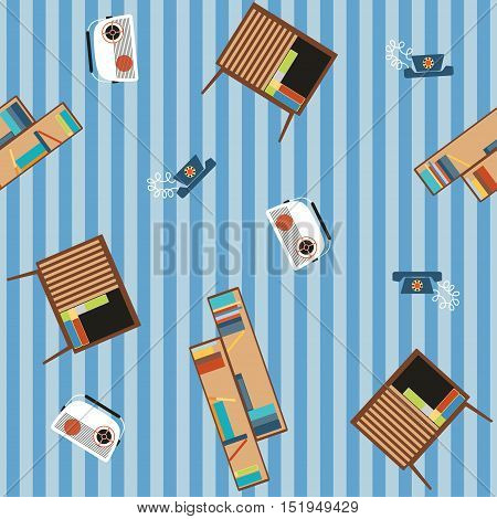 Seamless pattern of furniture and household appliances 70s