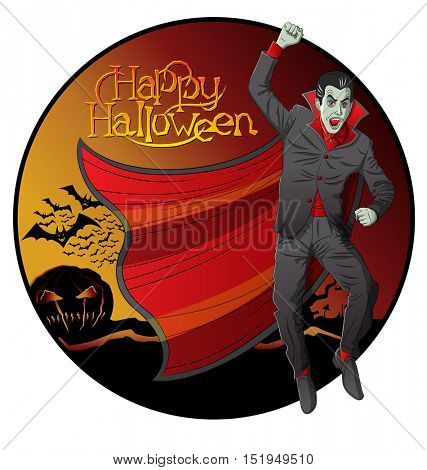 Cartoon Dracula vector. Halloween background
