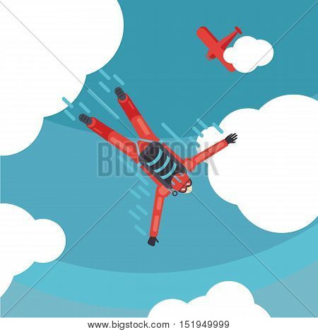 Parachute jump. Sky diver top view. Cartoon vector illustration