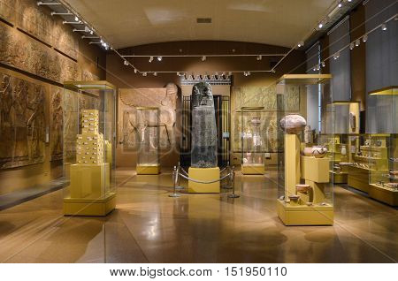 Moscow, Russia - October 04, 2016 - Exhibition of antique sculptures in Egyptian room of Pushkin state museum of fine arts