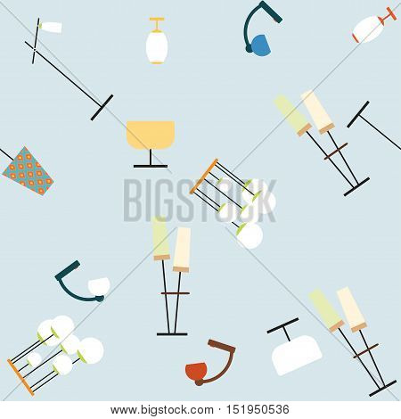 Seamless vector pattern of the lighting elements 70s