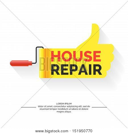 Repair of houses and buildings modern vivid poster and logo. Vector illustration.
