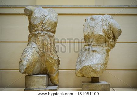 Moscow, Russia - October 04, 2016 - Antique torsos sculptures from the collection of Pushkin state museum of fine arts