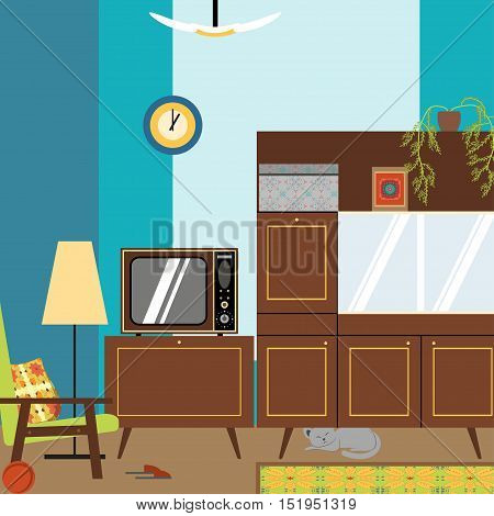 Interior room in the style of the 70s. Vector illustration of a room with furniture in the style of the 70s