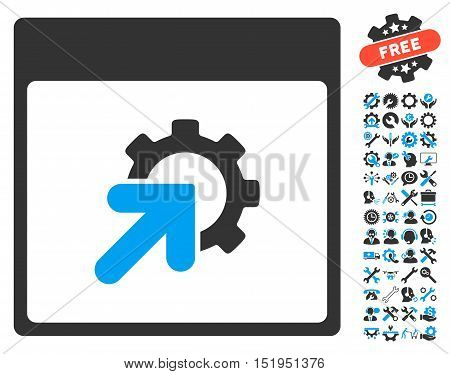 Gear Integration Calendar Page pictograph with bonus configuration pictures. Vector illustration style is flat iconic symbols, blue and gray, white background.