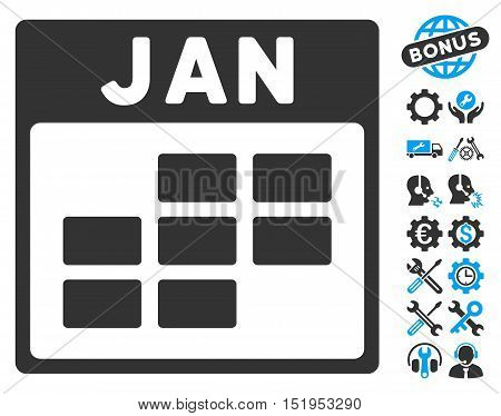 January Calendar Grid pictograph with bonus options graphic icons. Vector illustration style is flat iconic symbols, blue and gray, white background.