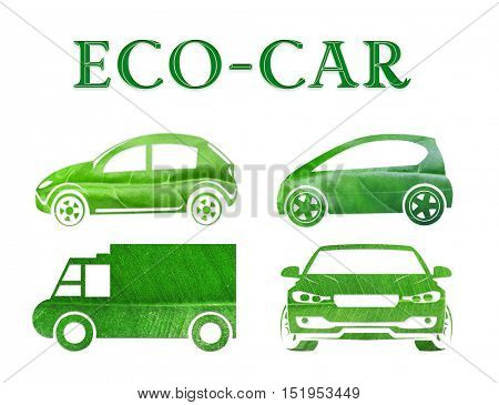 Different transport silhouettes made of green leaf with word ECO-CAR on white background. Nature conservation concept.