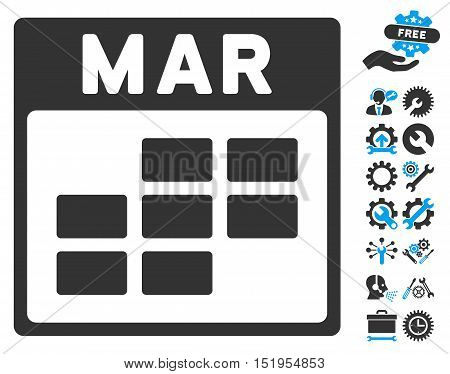 March Calendar Grid pictograph with bonus settings clip art. Vector illustration style is flat iconic symbols, blue and gray, white background.