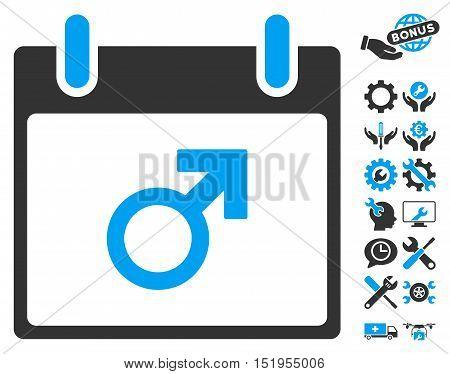 Mars Male Symbol Calendar Day icon with bonus configuration symbols. Vector illustration style is flat iconic symbols, blue and gray, white background.