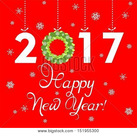 Paper applique for New Year 2017 greeting with hanging xmas wreath and number