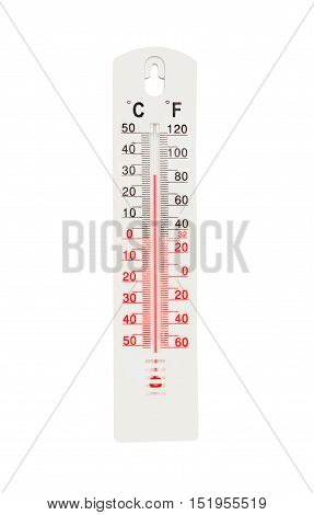 Thermometer With High Temperature Isolated On White Background
