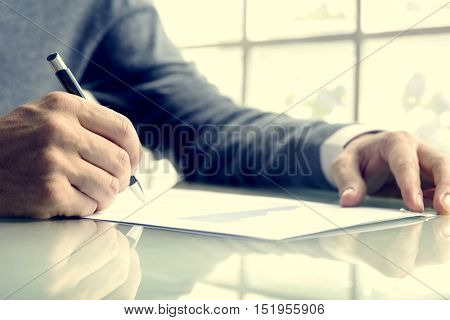 Business Man Hands Writing Report Concept