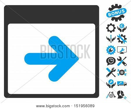 Next Calendar Day icon with bonus service pictograph collection. Vector illustration style is flat iconic symbols, blue and gray, white background.