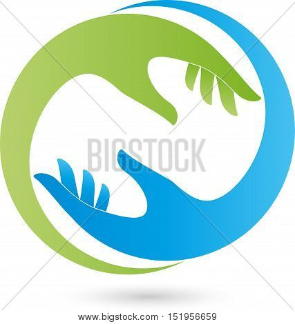 Two hands in green and blue, helper and Occupational Therapy logo