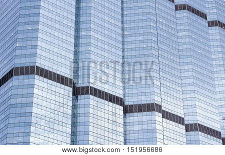 Modern commercial building close up with blue tone tuned