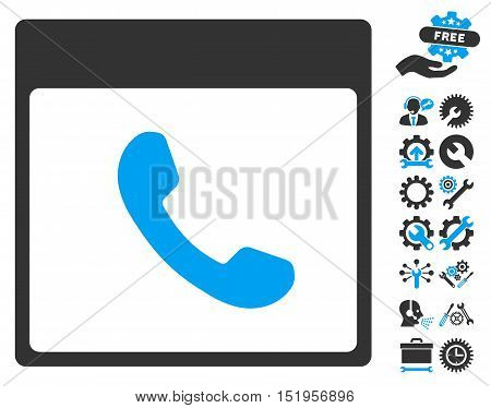 Phone Calendar Page pictograph with bonus configuration graphic icons. Vector illustration style is flat iconic symbols, blue and gray, white background.