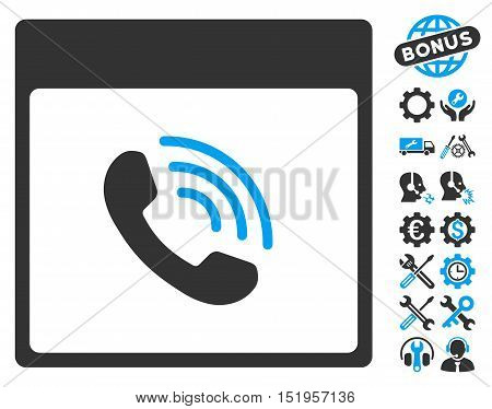 Phone Call Calendar Page pictograph with bonus setup tools pictograph collection. Vector illustration style is flat iconic symbols, blue and gray, white background.