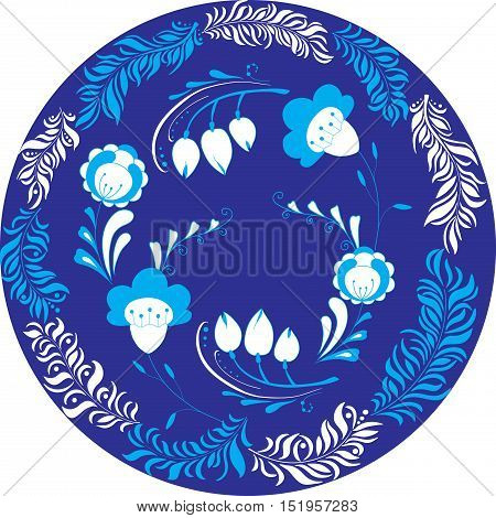 Vector illustration of circle made of leaves and flowers. Blue colored