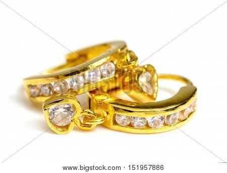 gold earring on white ,Heart Shape gold earring