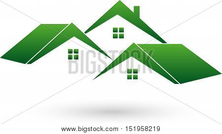 Three houses in green, roofs, real estate and real estate agent logo